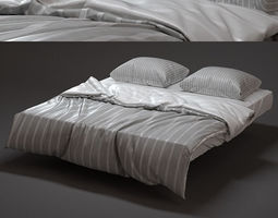 Modern Bed with bedding 3D furniture