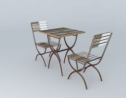 Table chair set Collioure 3D model