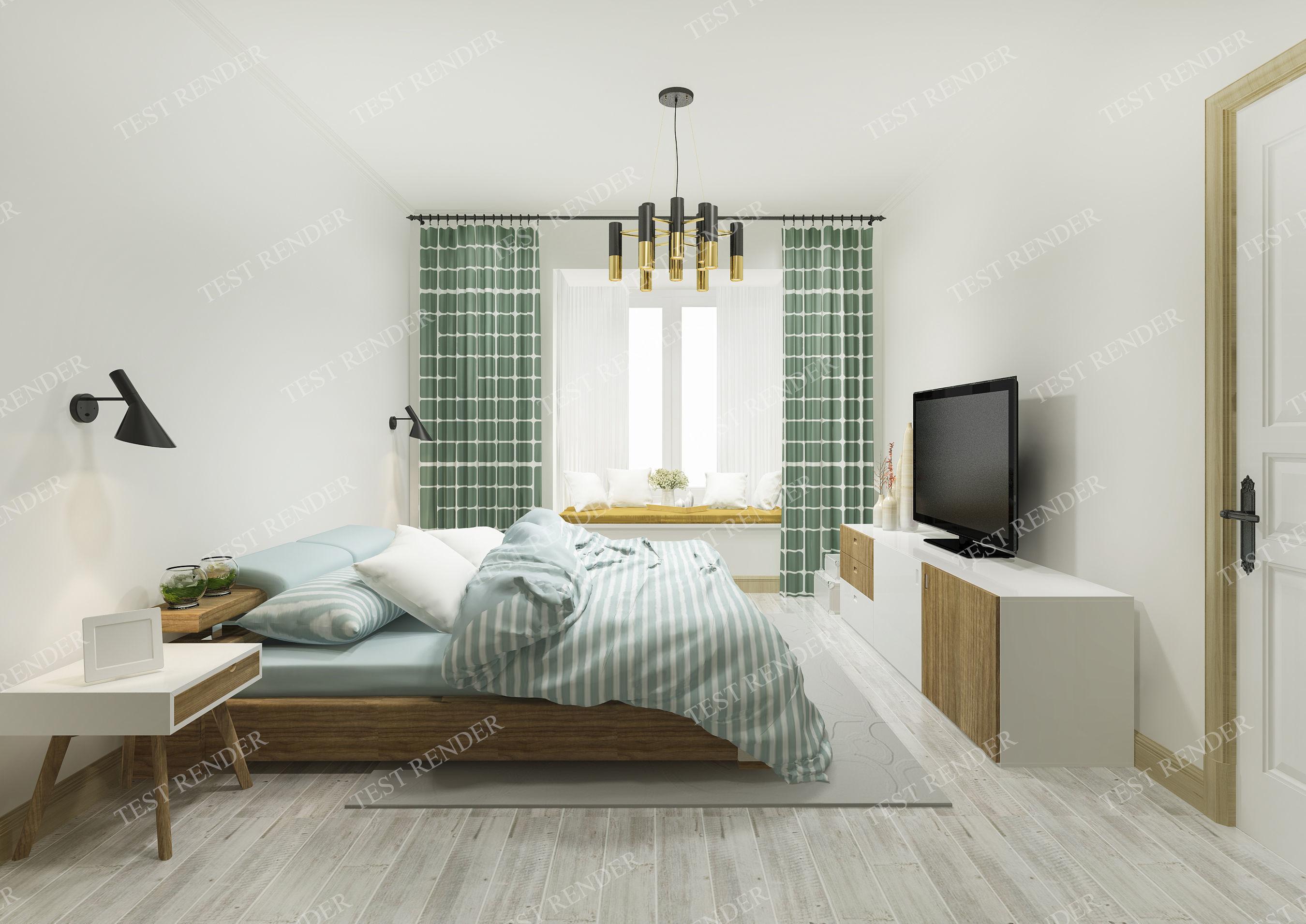 vintage green modern bedroom suite in hotel | 3D model