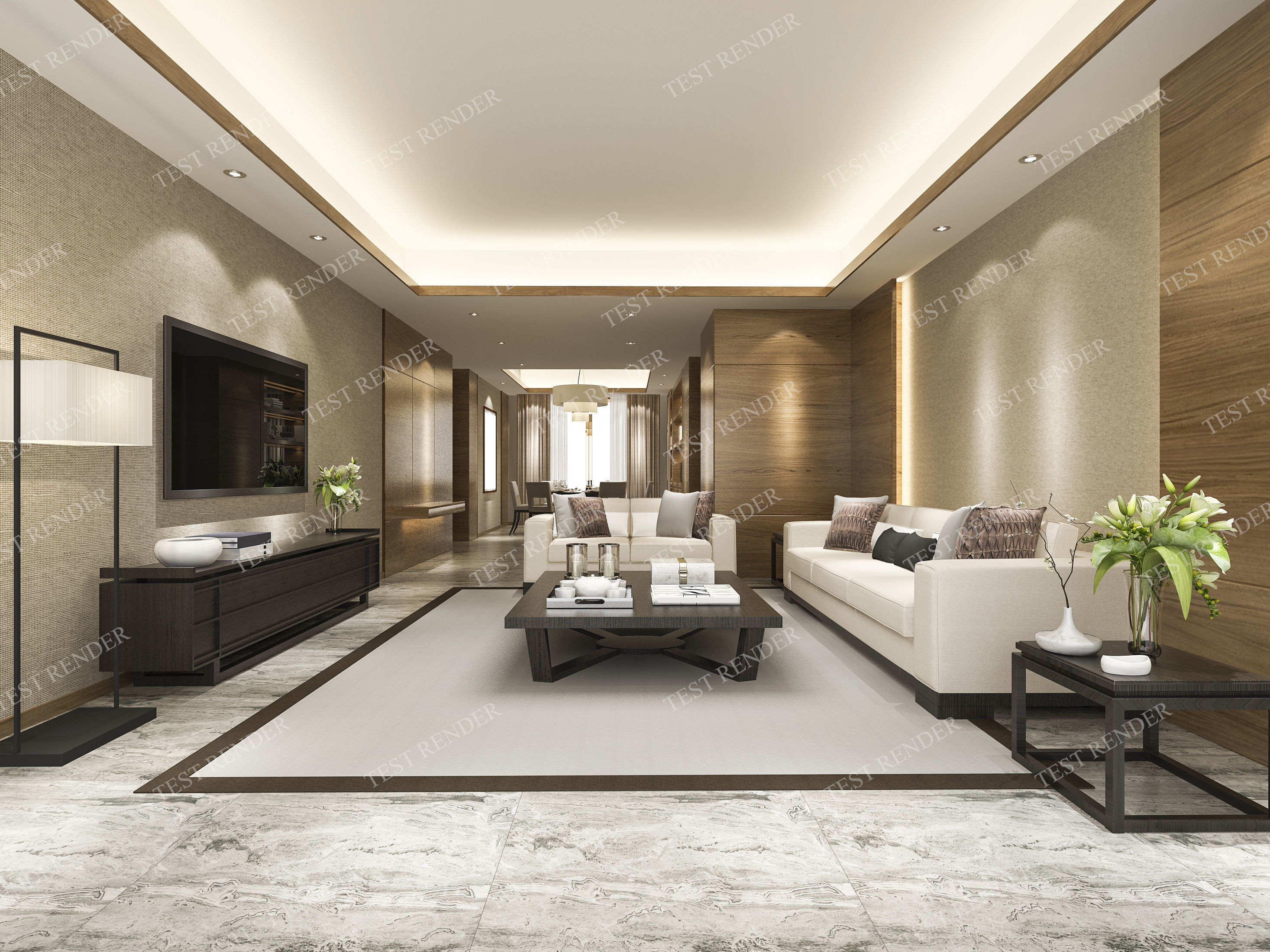 3d Interior Modern Living Room And Dining Room Cgtrader