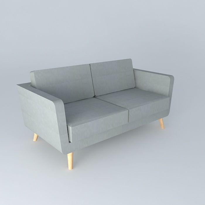 2 3 Seater Sofa Nils Grey Maisons Du Monde 3d Model