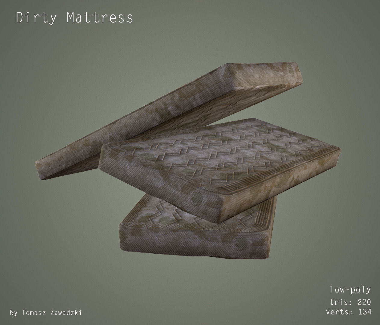 3D model Mattress Low Poly Clean and Dirty VR AR low