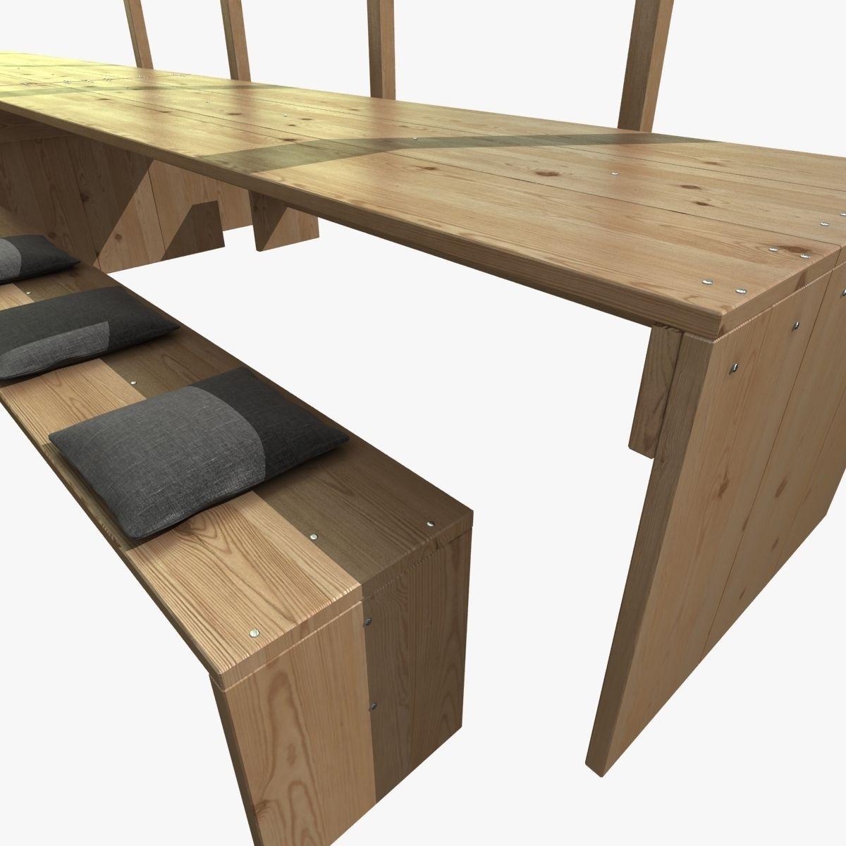 ... Pergola With Wooden Table Bench Lights 3d Model Max Obj 3ds Fbx Mtl 5  ...