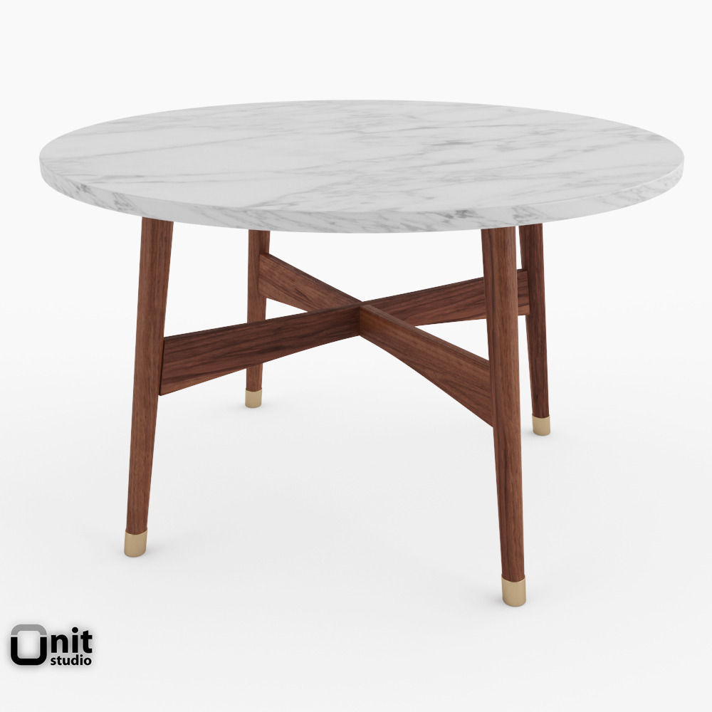 Reeve Mid Century Round Coffee Table By West Elm 3d Model Max Obj 3ds Fbx  ...