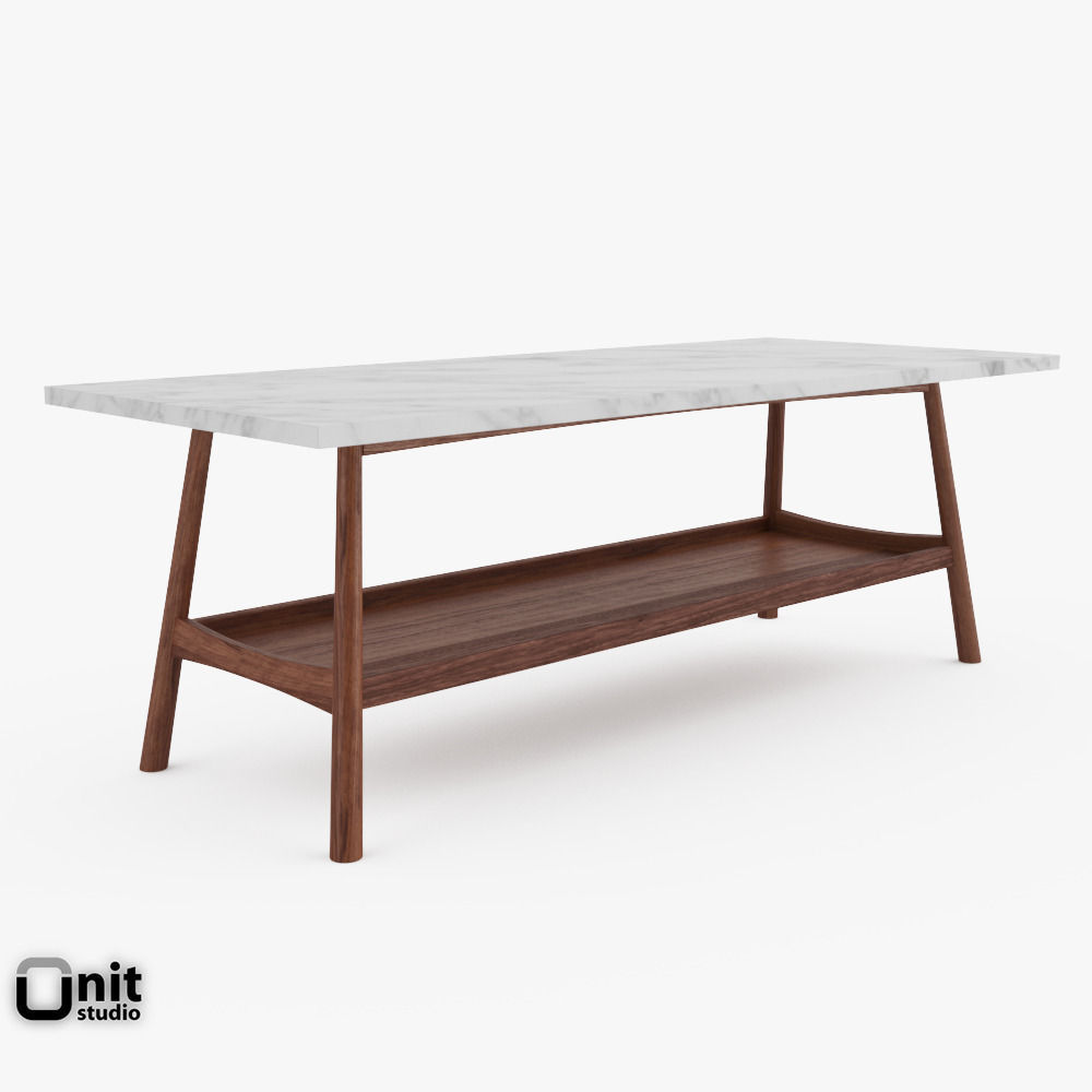 Reeve Mid Century Rectangular Coffee Table By West Elm 3d Model