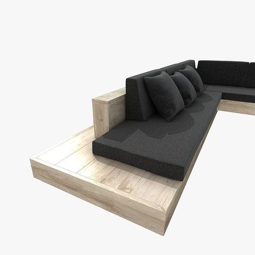 ... Outdoor Corner Sectional Sofa 3d Model Max Obj 3ds Fbx Mtl Unitypackage  3 ...