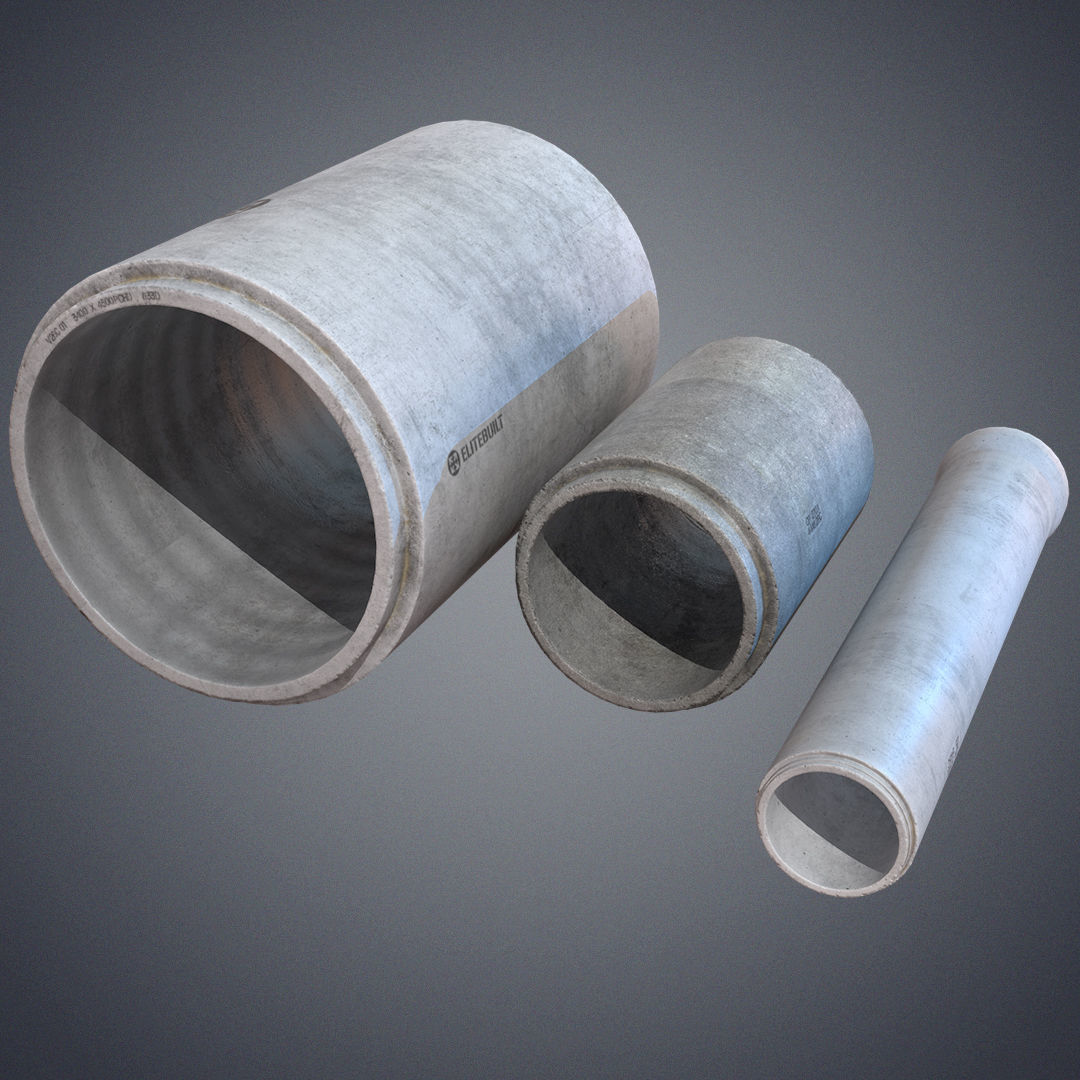 Concrete industrial pipes | 3D model