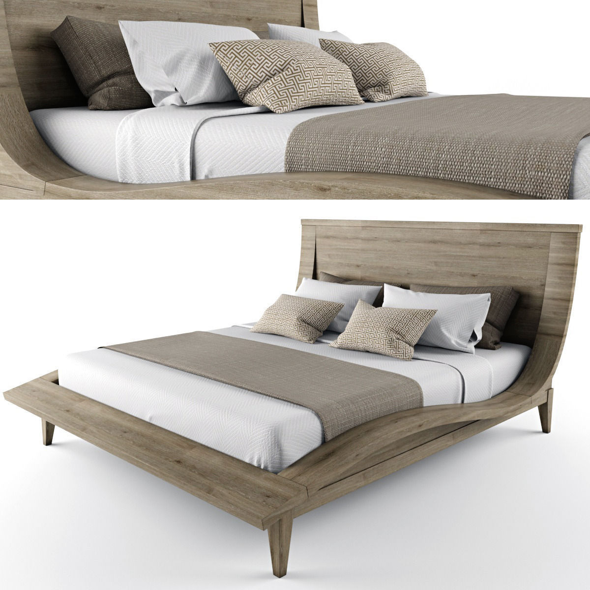 wooden bed brown d model  cgtrader - wooden bed d model max obj fbx