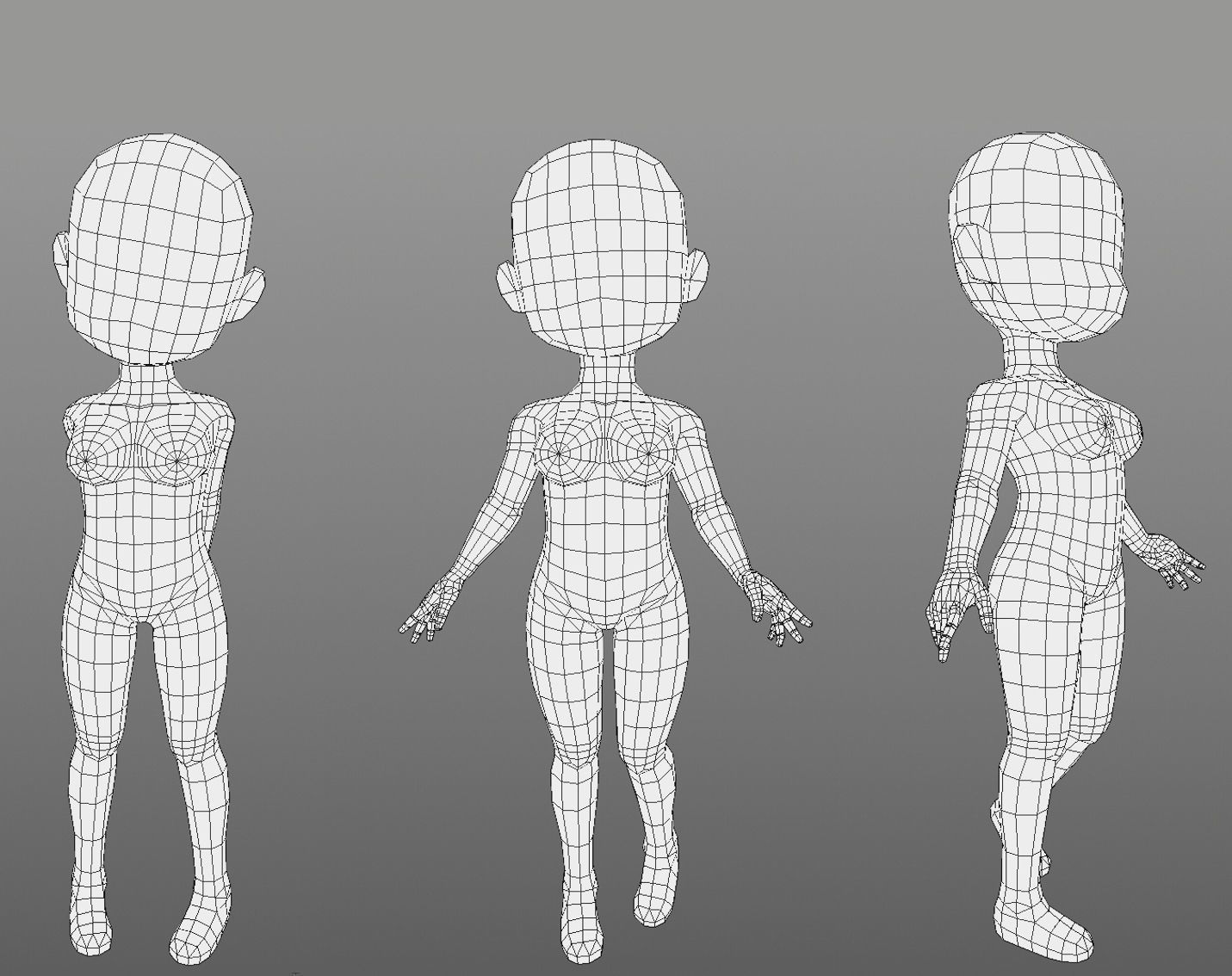 Base mesh girl character Low-poly 3D model | 3D model
