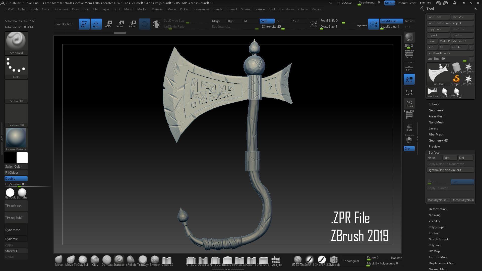 Axe - Sculpting in ZBrush - Retopo and Texture Blender Eevee | 3D model