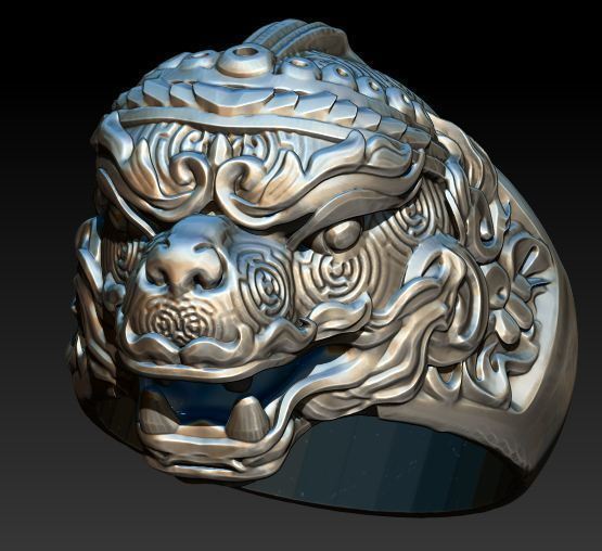 Lion Dragon Ring 3dm stl model | 3D Print Model