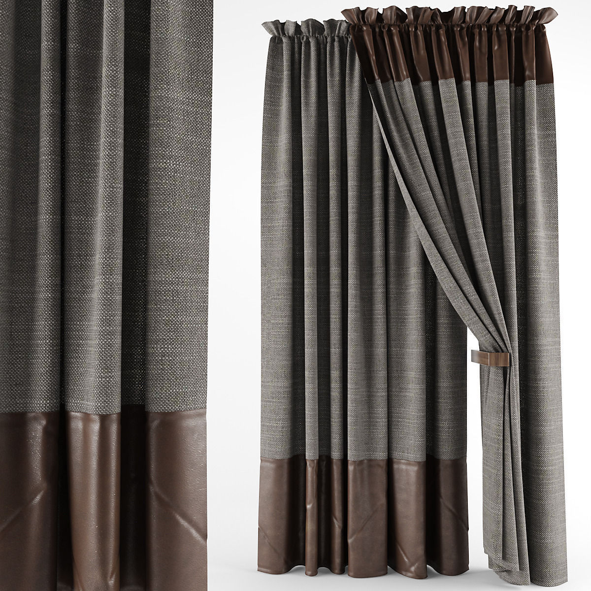 Leather Curtains 3d Model Max Obj 1