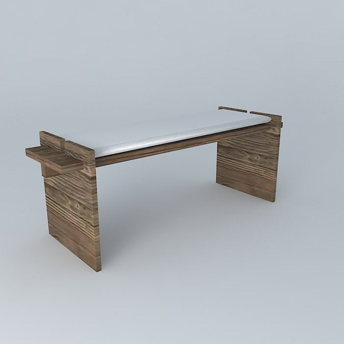 Peachy Stool Bench Rustic Wood And White Leather Free 3D Model Max Cjindustries Chair Design For Home Cjindustriesco
