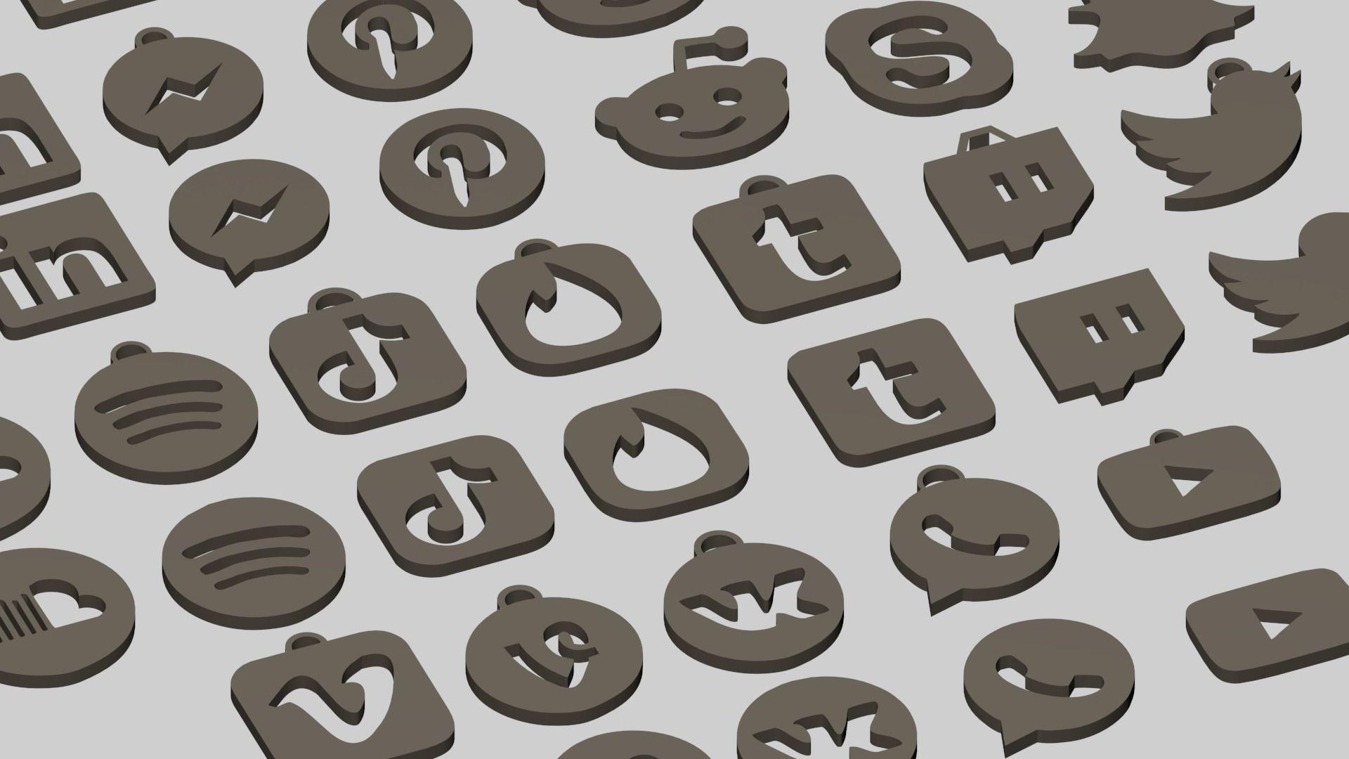 Social media and popular app logos keychain pack