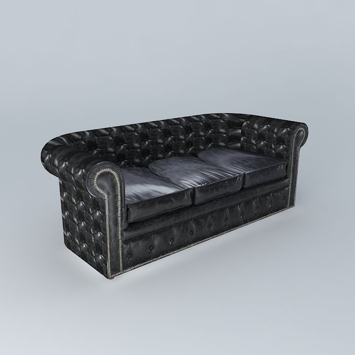 Black Leather Sofa Vintage 3d Model Max Obj 3ds Fbx Stl Skp 1 ...