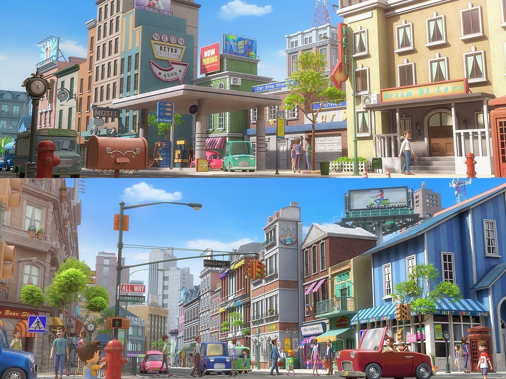 Cartoon City Street Scene