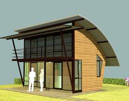 ski-mountain Small resort cottage 02 3D model
