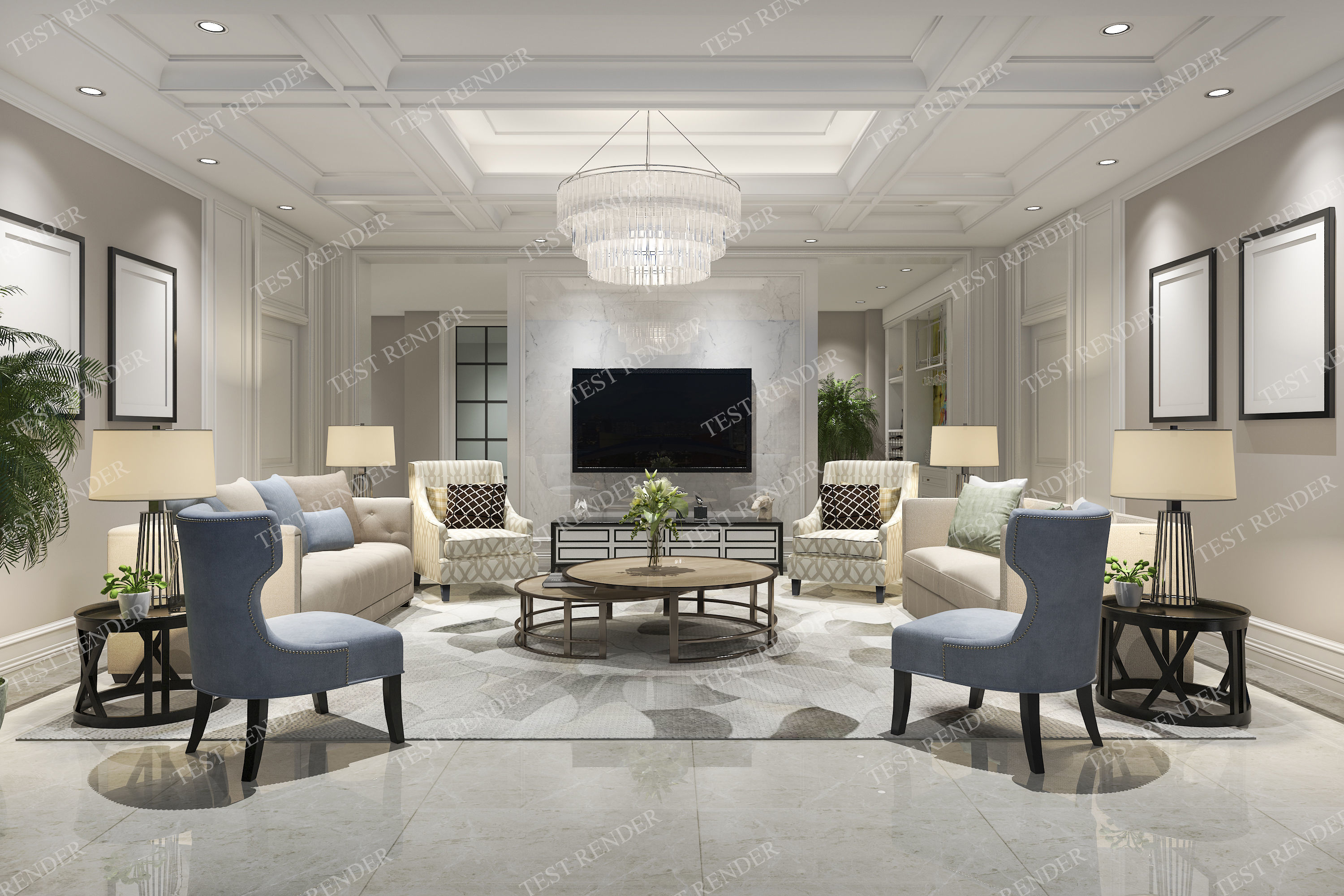 Classic Modern Luxury Living Room With