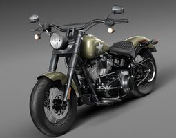 Harley Davidson Softail Slim S Army Design 2016 3D Model