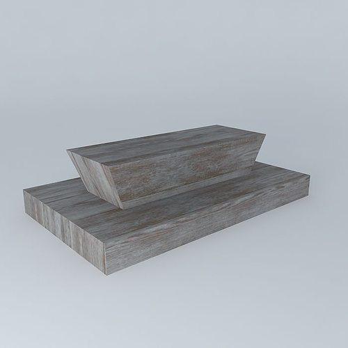 Grey Teak Coffee Table: Sloid Grey Teak Exterior Coffee Table 3D
