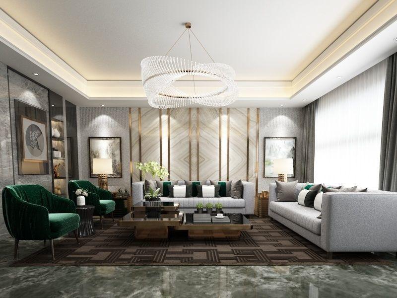 3d Model Post Modern Luxury Livingroom And Its Scene