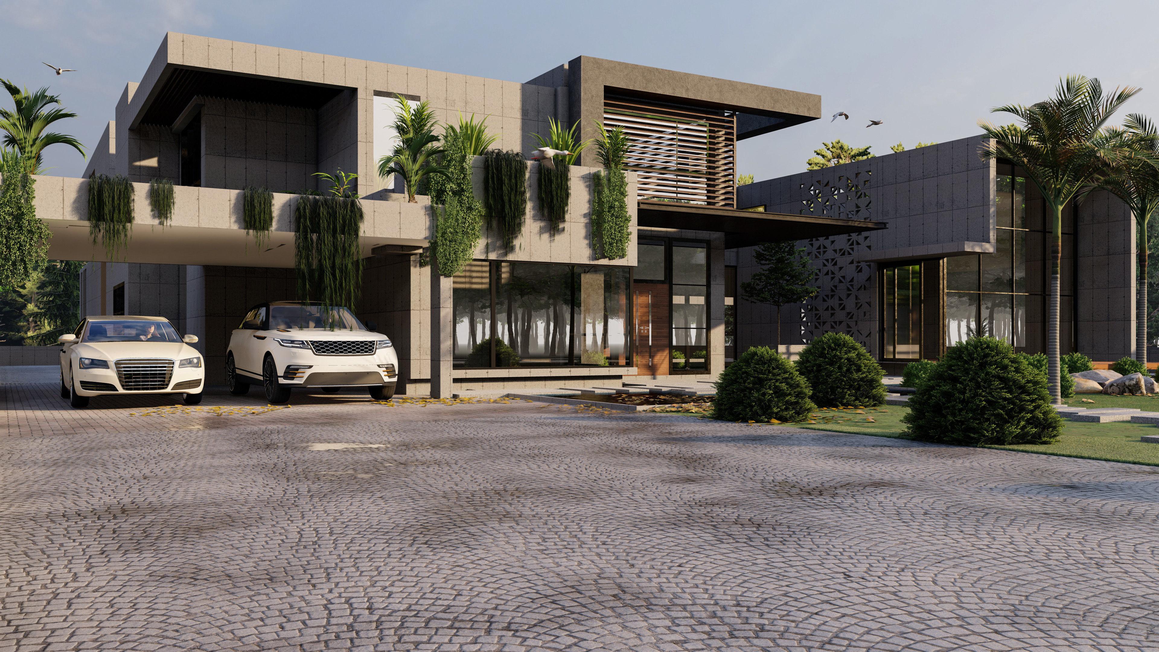 3D MODERN LUXURY HOUSE MODEL AND RENDER MODERN HOUSE