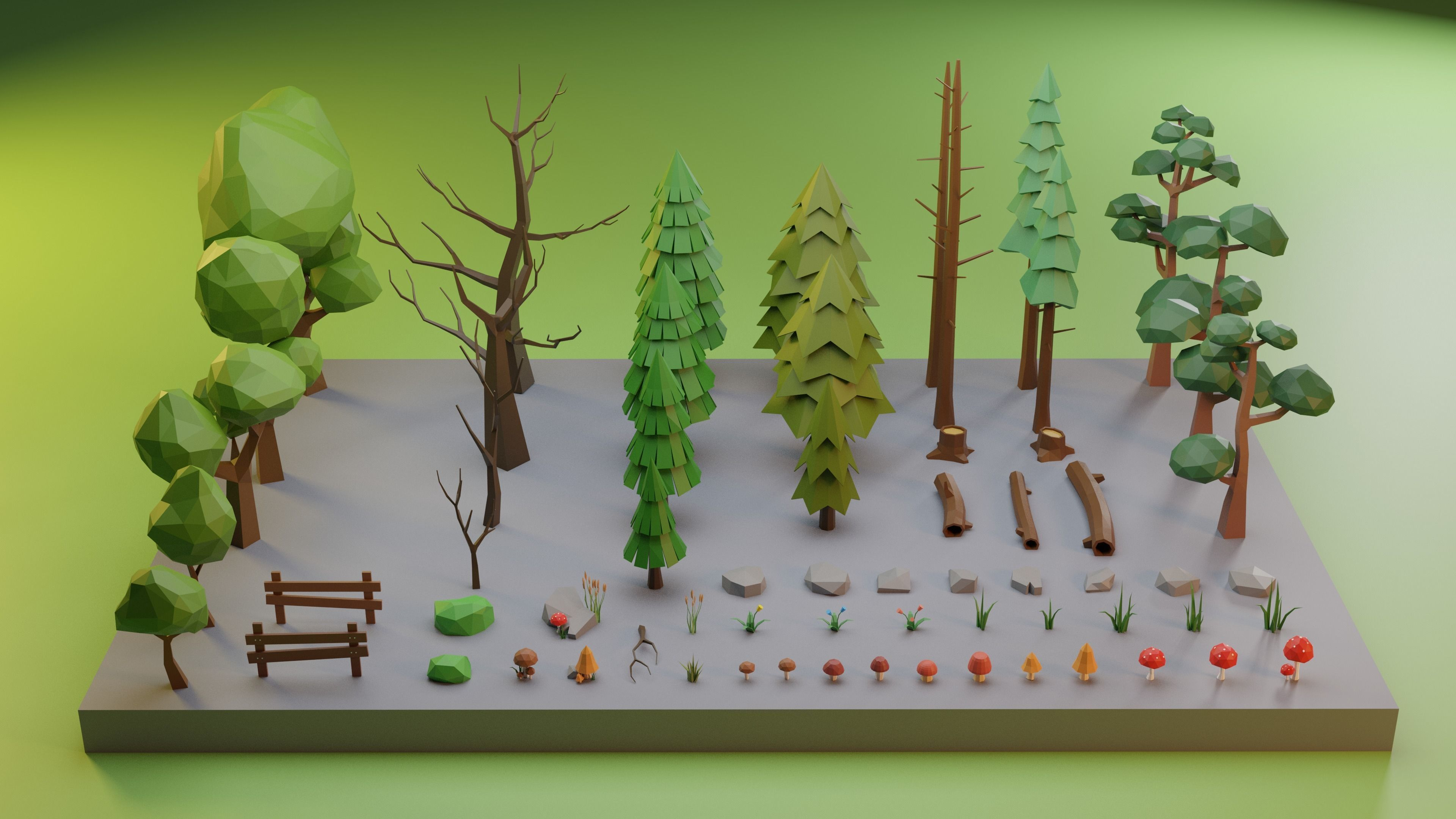 Low Poly Trees Grass and Rocks
