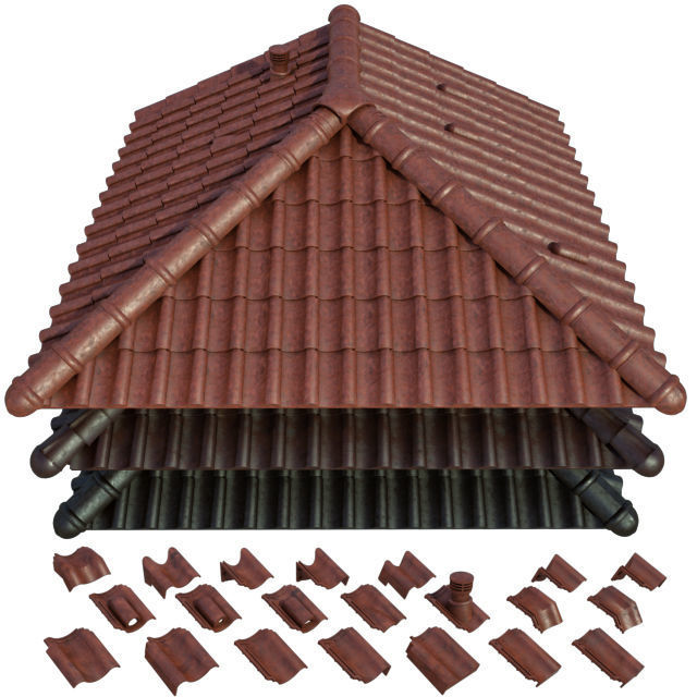 3d Model Roof And Ceramic Tiles Cgtrader
