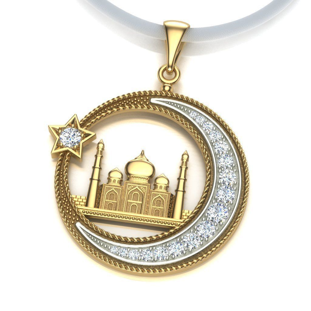 Pendant Mosque and Crescent 1