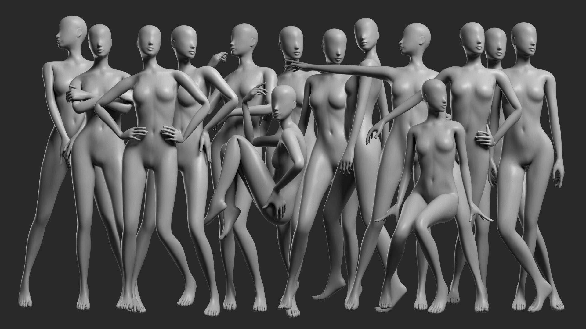 Animated Female Mesh - 14 poses v2