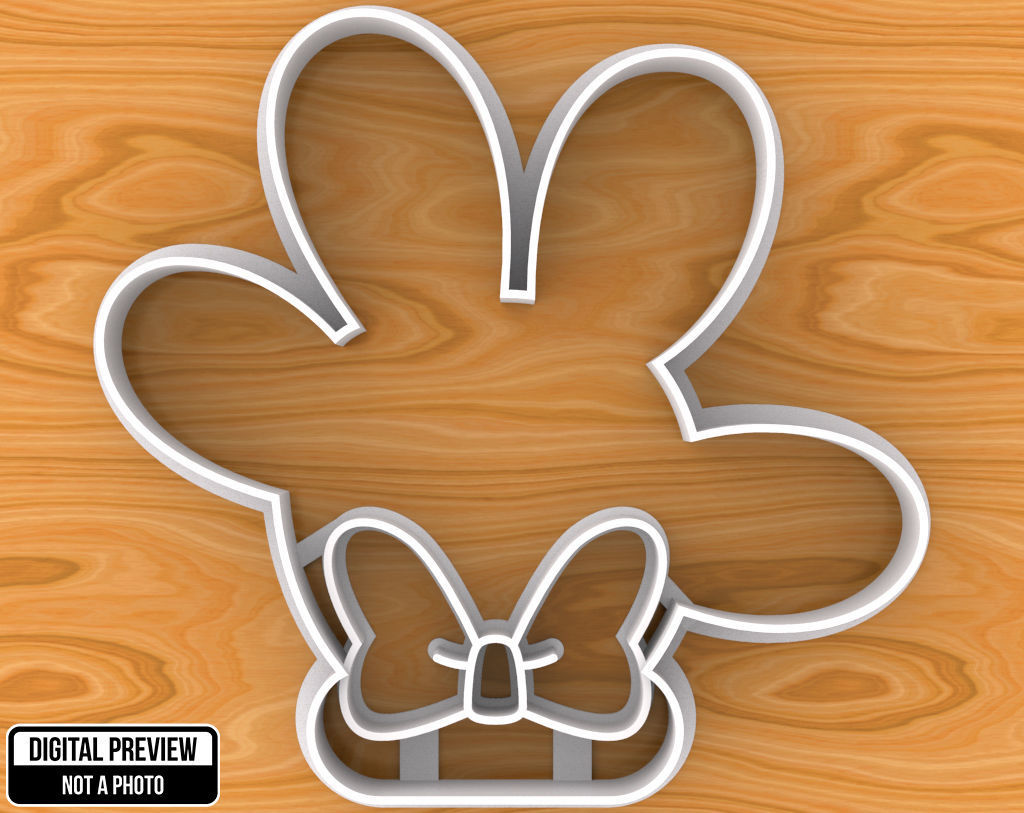 Minnie Mouse Hand with Bow Cookie Cutter