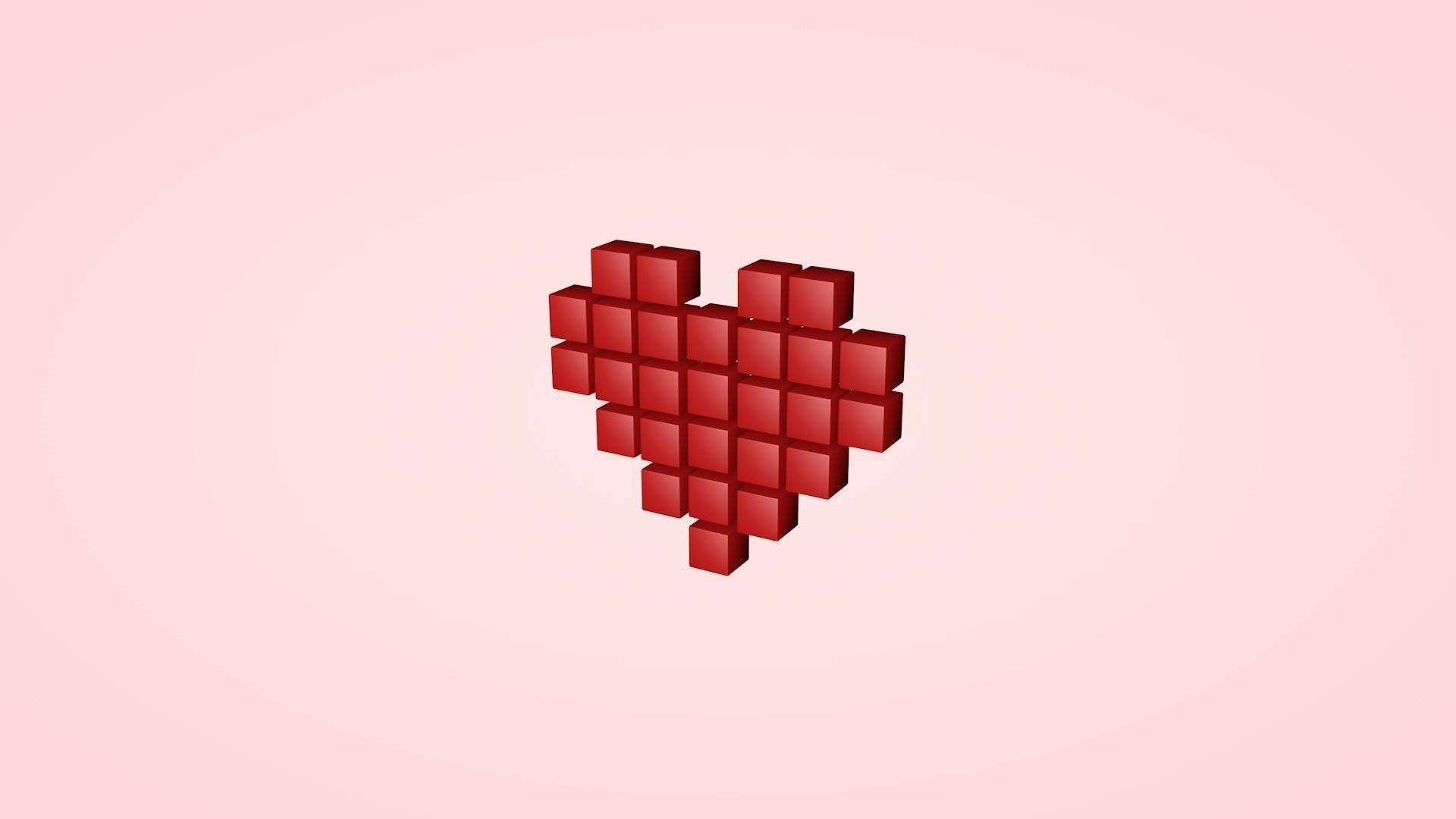 Pixel Heart 3d Model Cgtrader