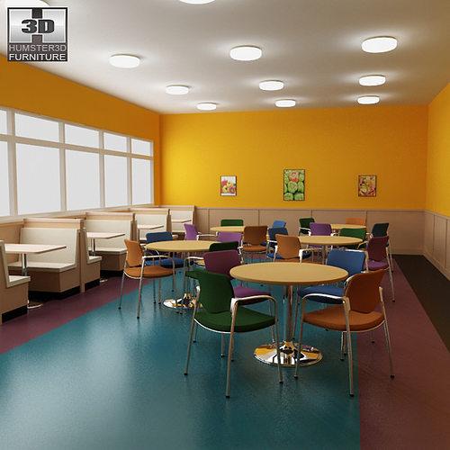 3D Model Dining Room 04 Set A Fast Food Restaurant