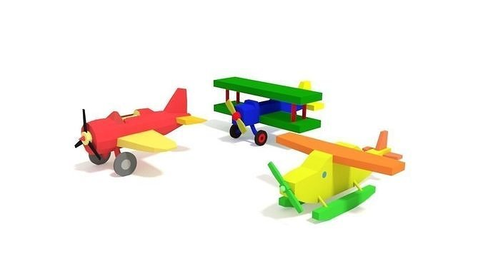 3d Model Low Poly Cartoon Toy Airplanes Pack Cgtrader