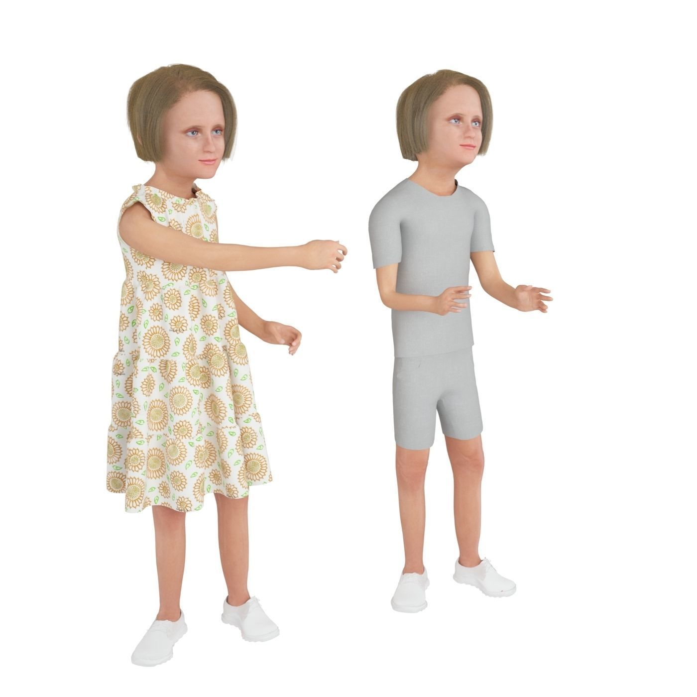 Girl real cloth simulation conversation loop animation 3