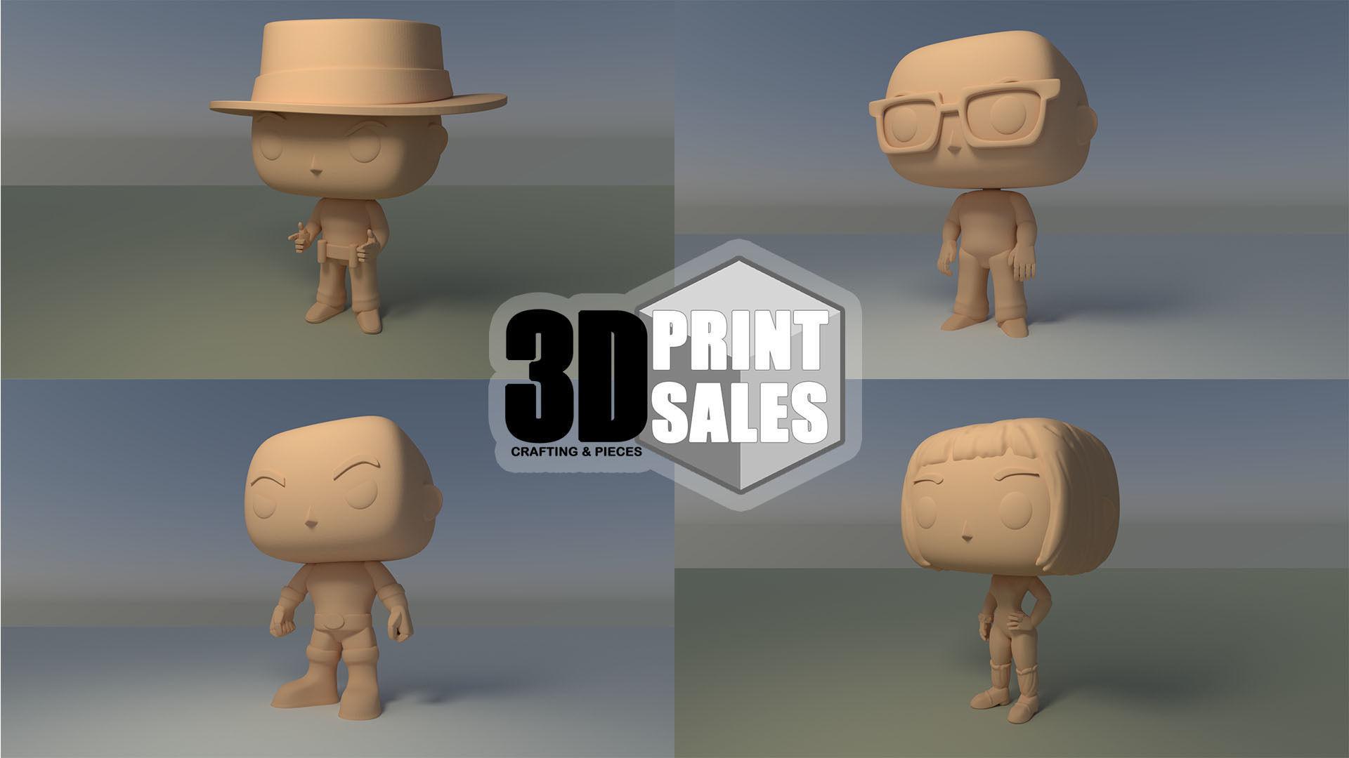4x3 Promo Pack 1 - Custom Pop 3D Printable Models DIY