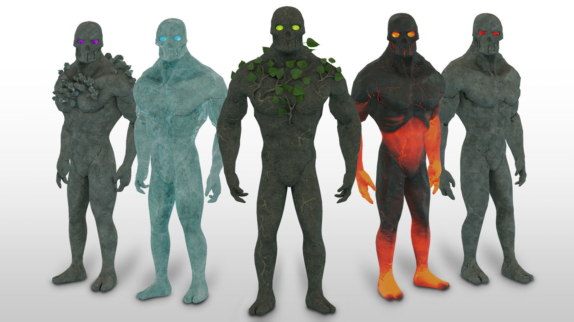 Low Poly Elemental Golem Character Pack With PBR Materials