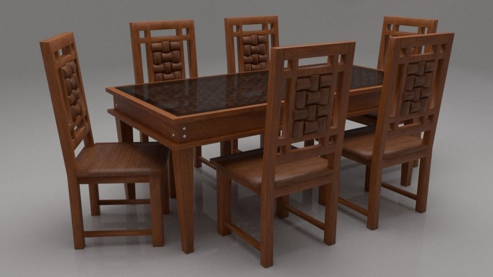 Woodway Solid Wood Six Seater Dining Set With Gl Model