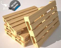 wood pallet eur epal 3d asset low-poly rigged