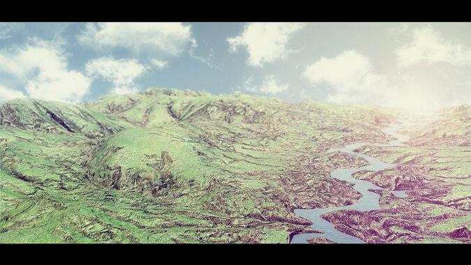 mountain terrain 3d model low-poly obj fbx ma mb mtl tga 1