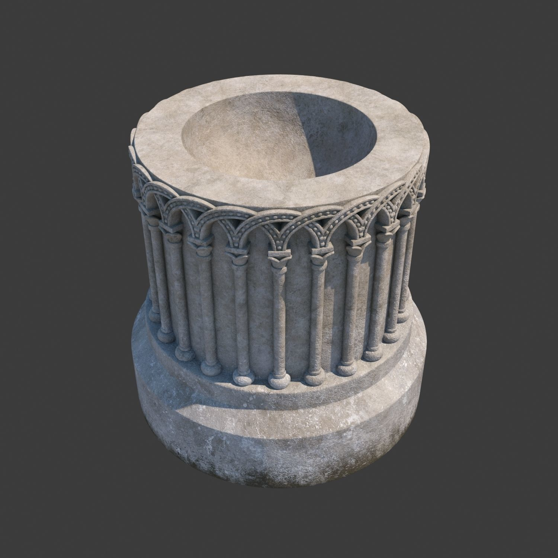 Church Furniture - Stone Baptismal Font 01 Ancaster