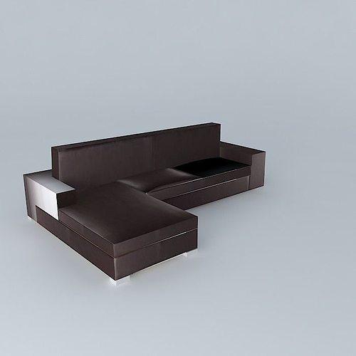 brown leather corner sofa  3d model max obj 3ds fbx stl skp 1