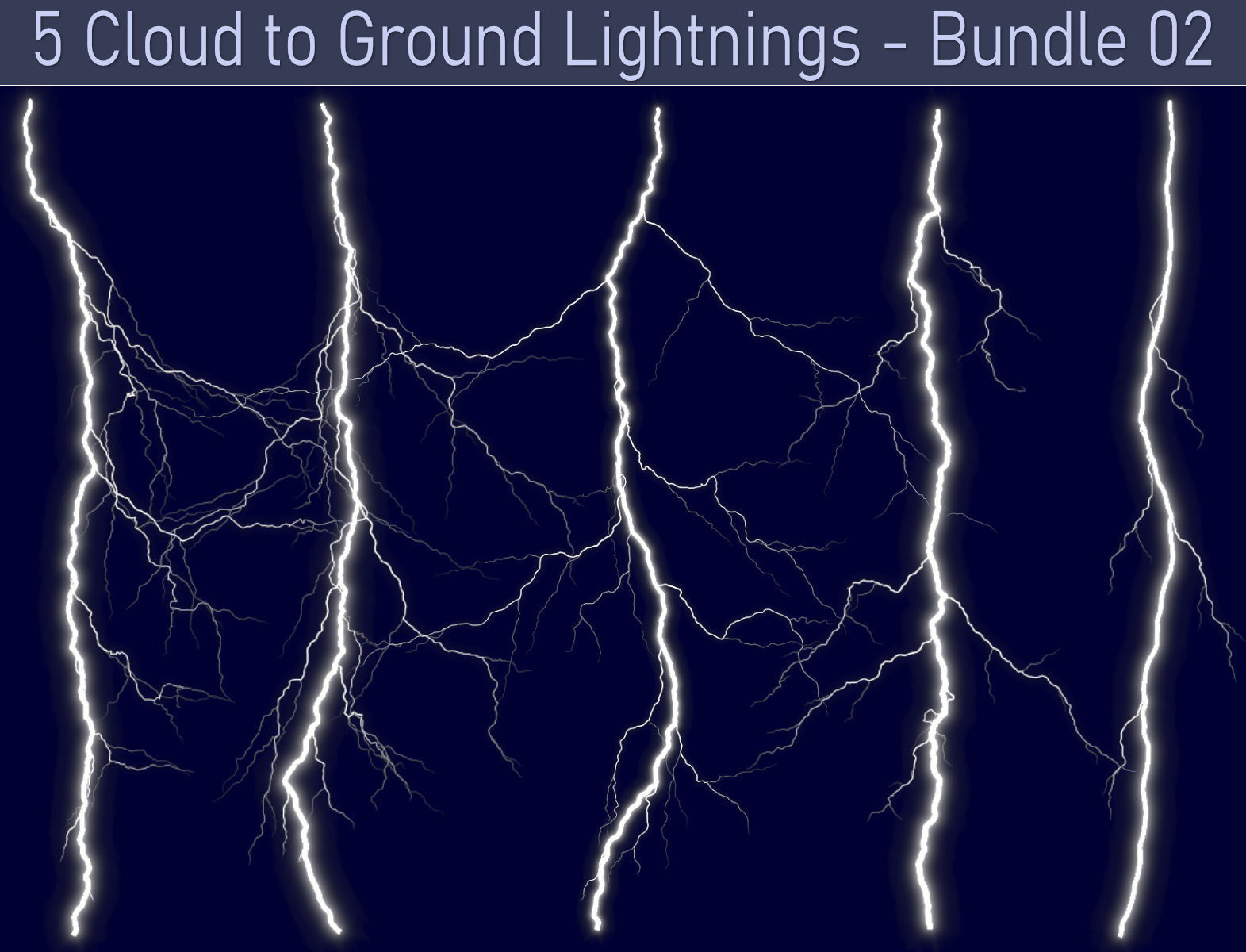 Realistic Lightnings Bundle 02 - 5 pack CG