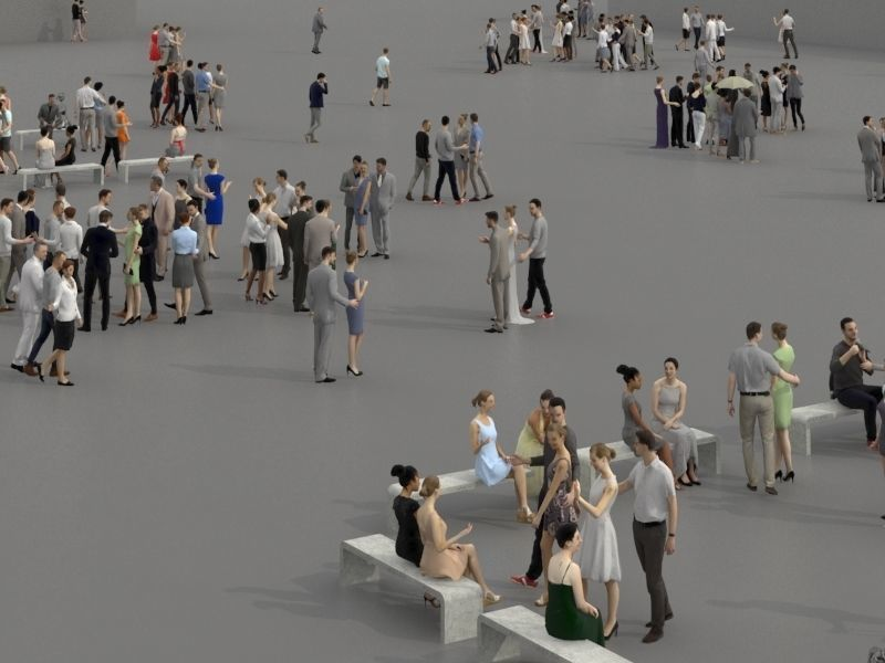 3D PEOPLE CROWDS -PLAZA SQUARE -  ULTIMATE SPEED SOLUTION