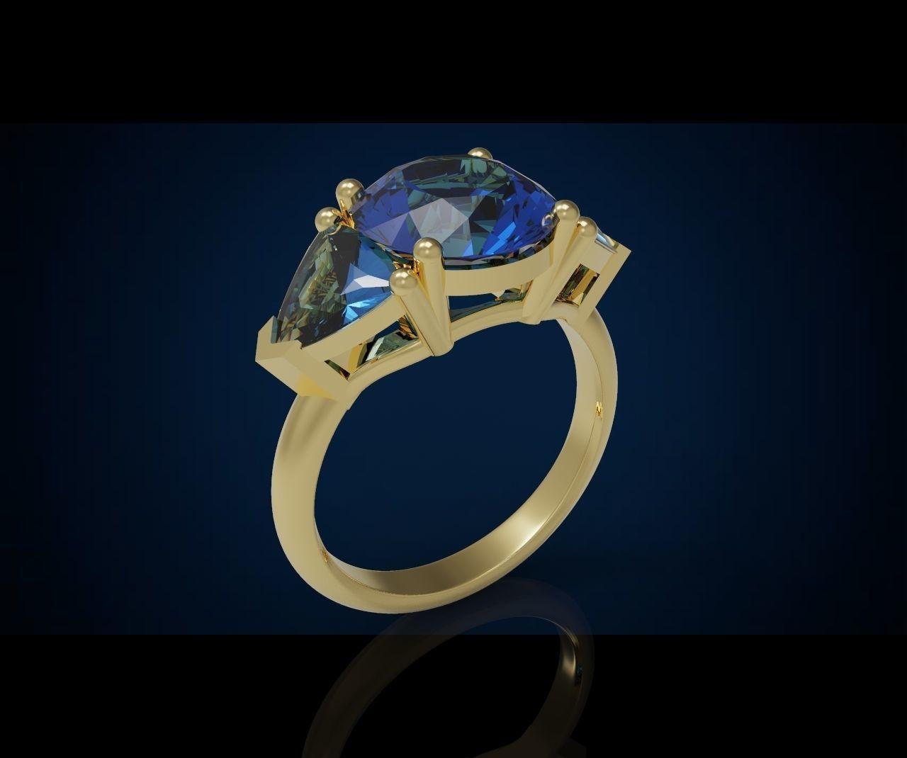 Three gemstone ring  Cg 3 1