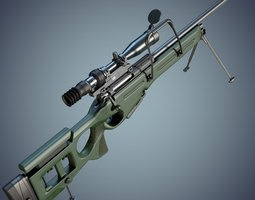 sv-98 sniper rifle with 3-10x 1p69 scope 3d model