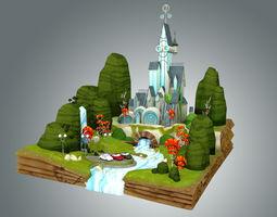 low poly fantasy castle 3d model realtime