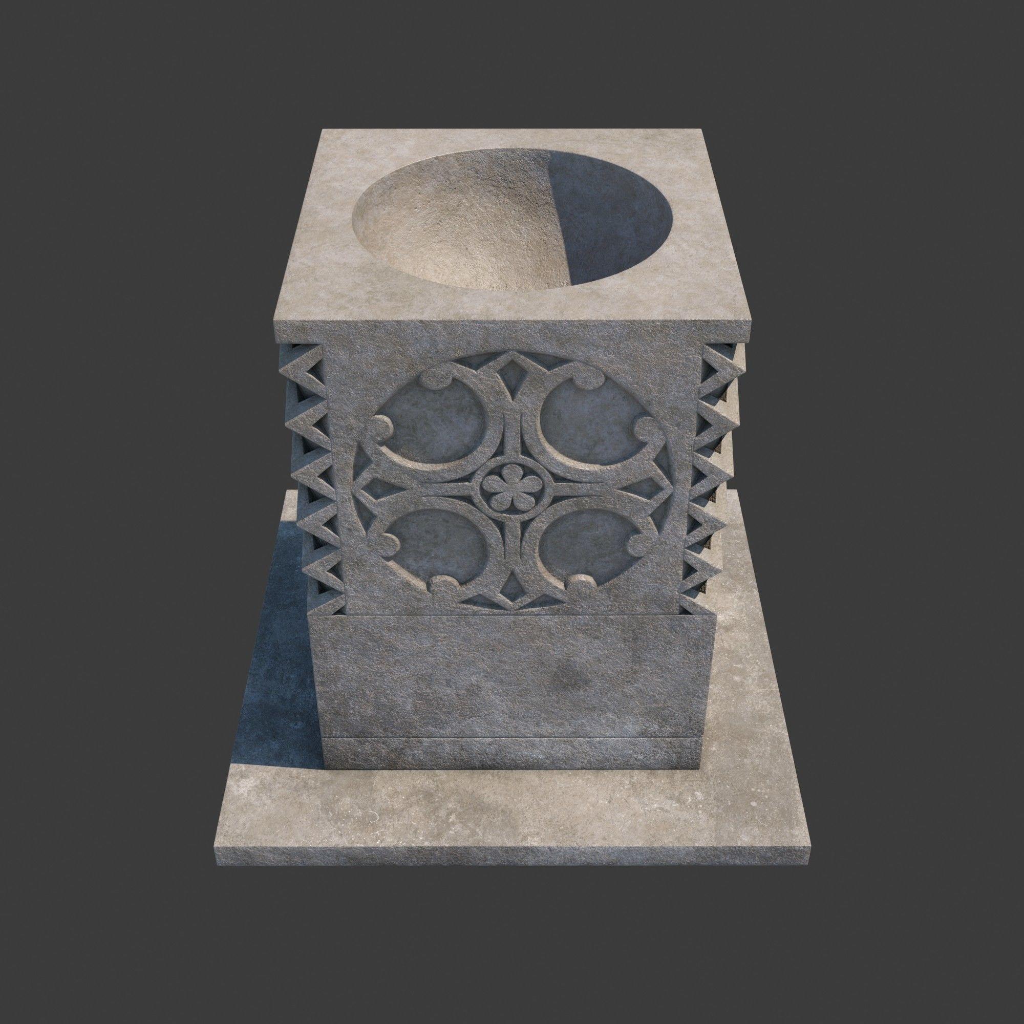Church Furniture - Stone Baptismal Font 05
