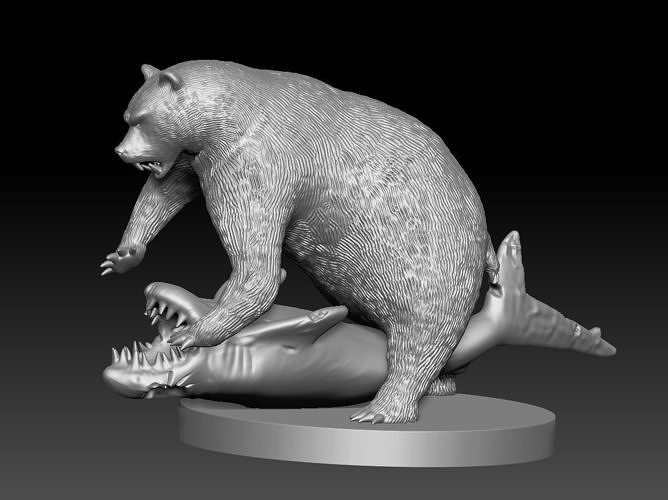 Bear vs shark 3d print model