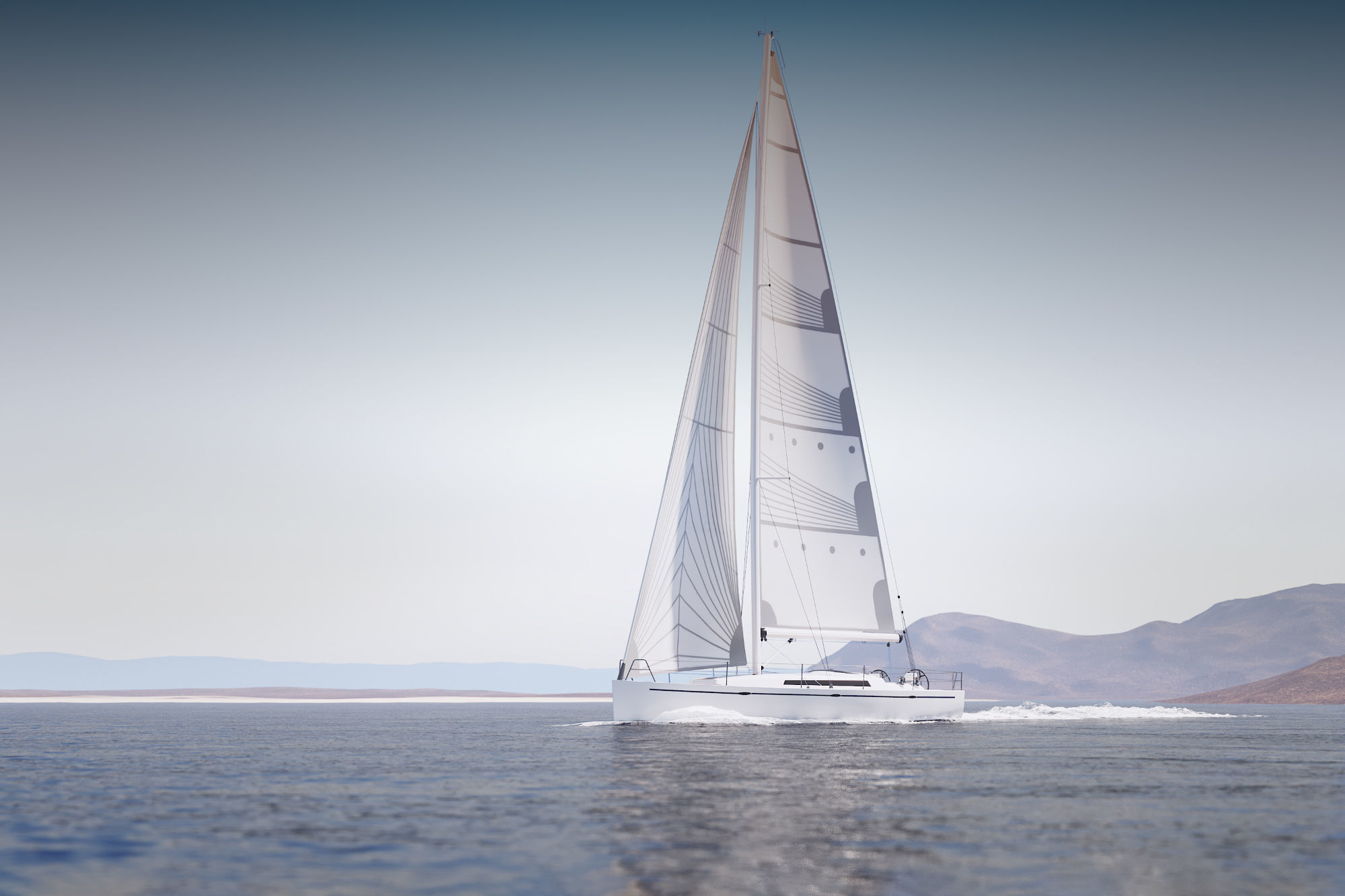 Mid size sailing yacht